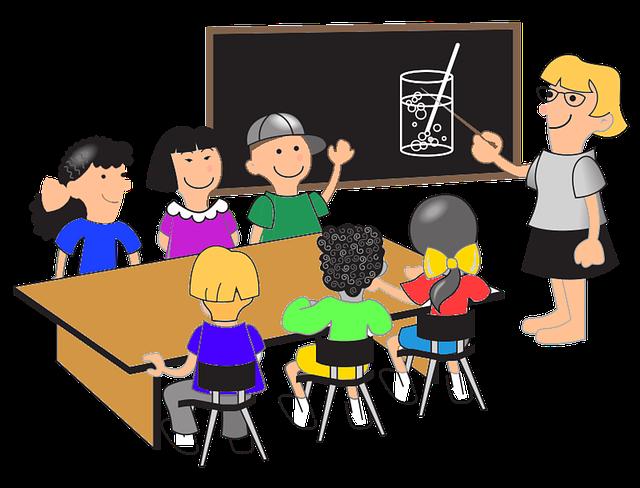 Paní učitelka, škola, žáci.